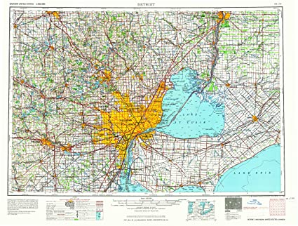 Map Of Detroit Michigan Amazon.: YellowMaps Detroit MI topo map, 1:250000 Scale, 1 X 2