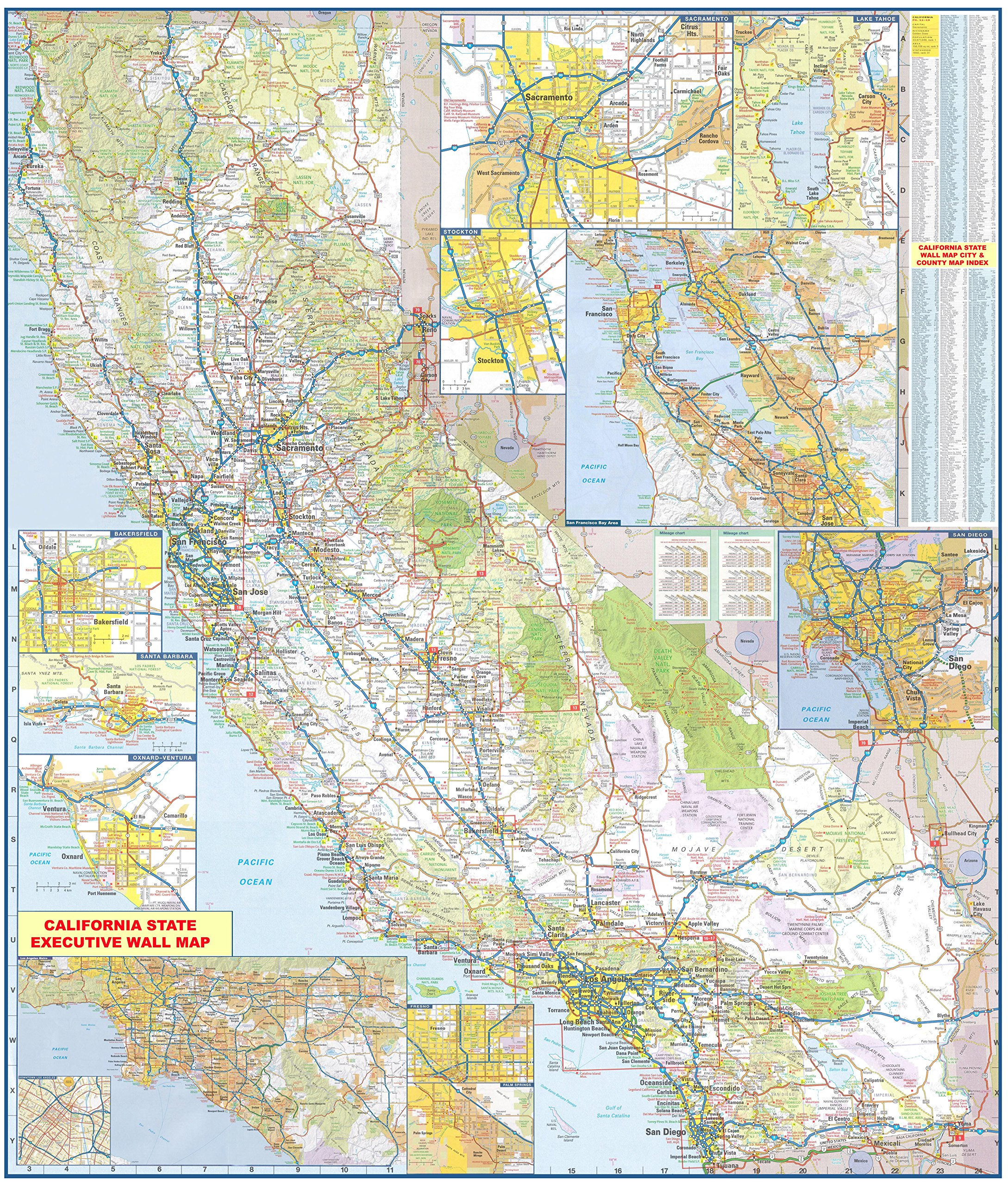 48x54 California State Official Executive Laminated Wall Map