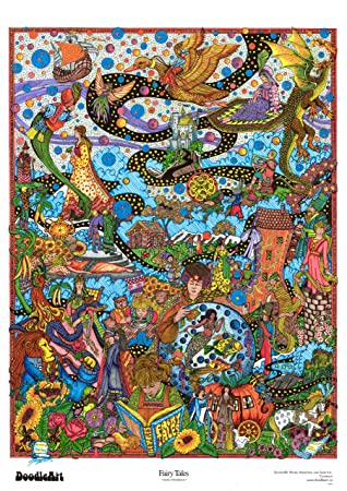 DoodleArt The Original Fairy Tales Adult Coloring Poster: Amazon.co ...