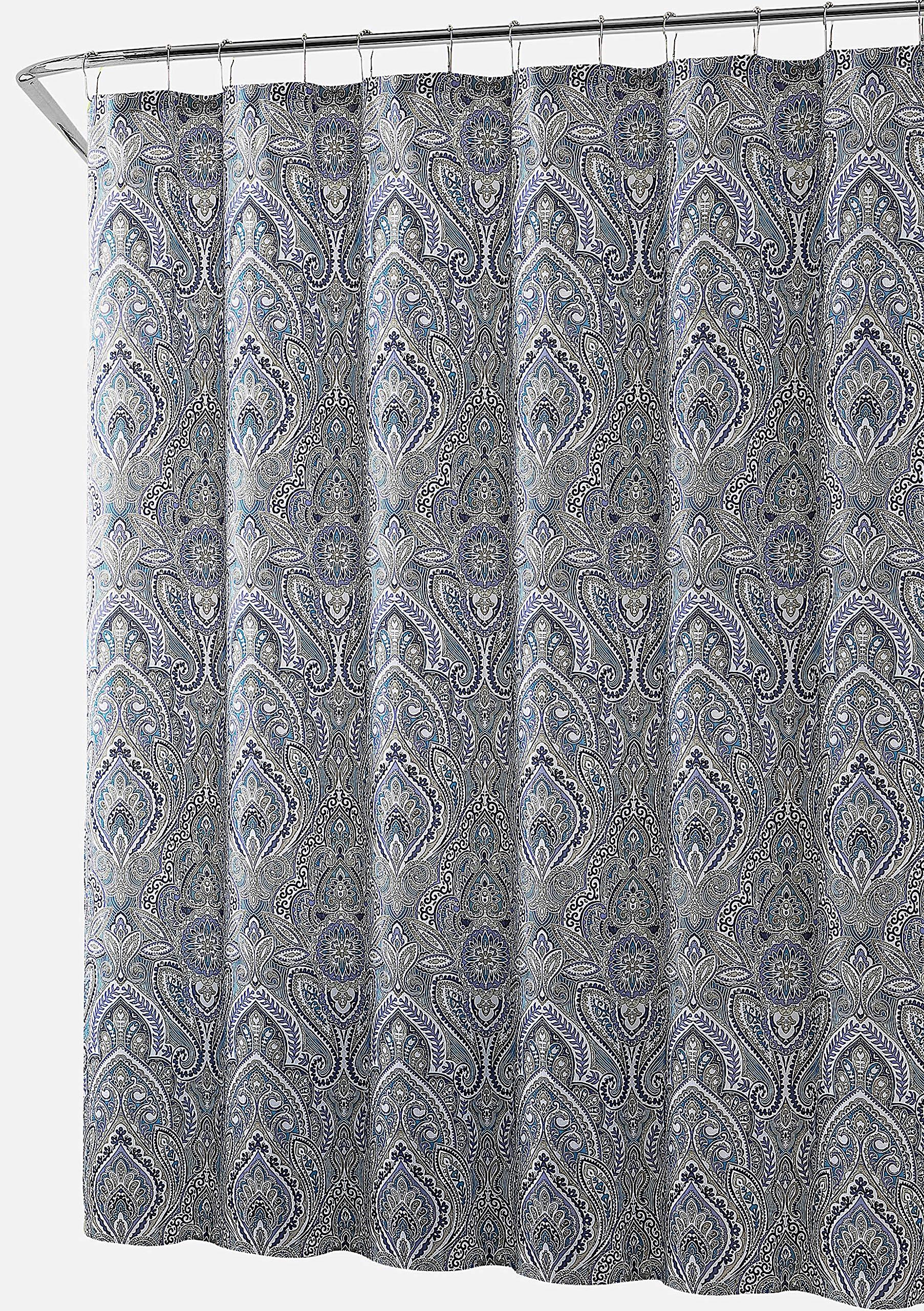 Hudson Essex Blue Purple Green Gold Cloth Fabric Shower Curtain Floral Paisley Print Design 72 X Inch