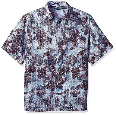 7779c4f6fd Cubavera Men s Short Sleeve Linen-Blend Tropical Floral Print Button-Down  Shirt at Amazon Men s Clothing store