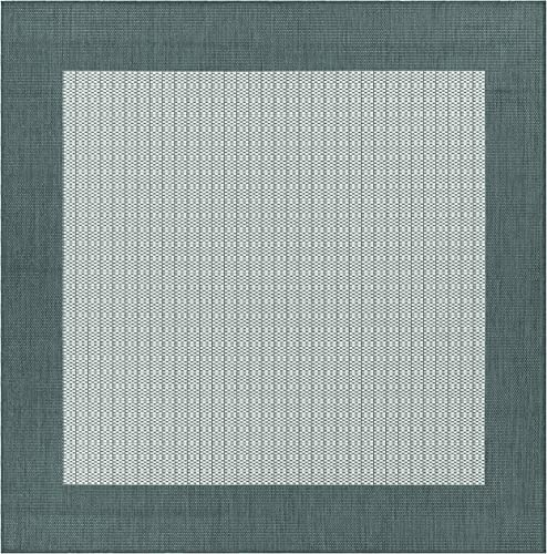 Couristan 1005 3012 Recife Checkered Field Grey-White 7-Feet 6-Inch Square Rug