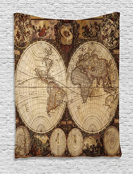 Amazon world map tapestry vintage decor by ambesonne old world world map tapestry vintage decor by ambesonne old world map drawn in 1720s nostalgic style gumiabroncs Gallery