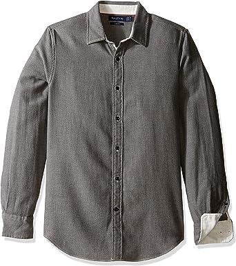 Nautica Mens Long Sleeve Textured Cotton Button Down Shirt