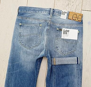 219afcf4 Lee 101 S Jeans Slim Rider 13oz White Selvage L97281QL Slim FIT (W33 L34):  Amazon.co.uk: Clothing