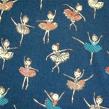 0,5m Stoff Jeans-Optik Ballerinas blau 100% Baumwolle Meterware ...