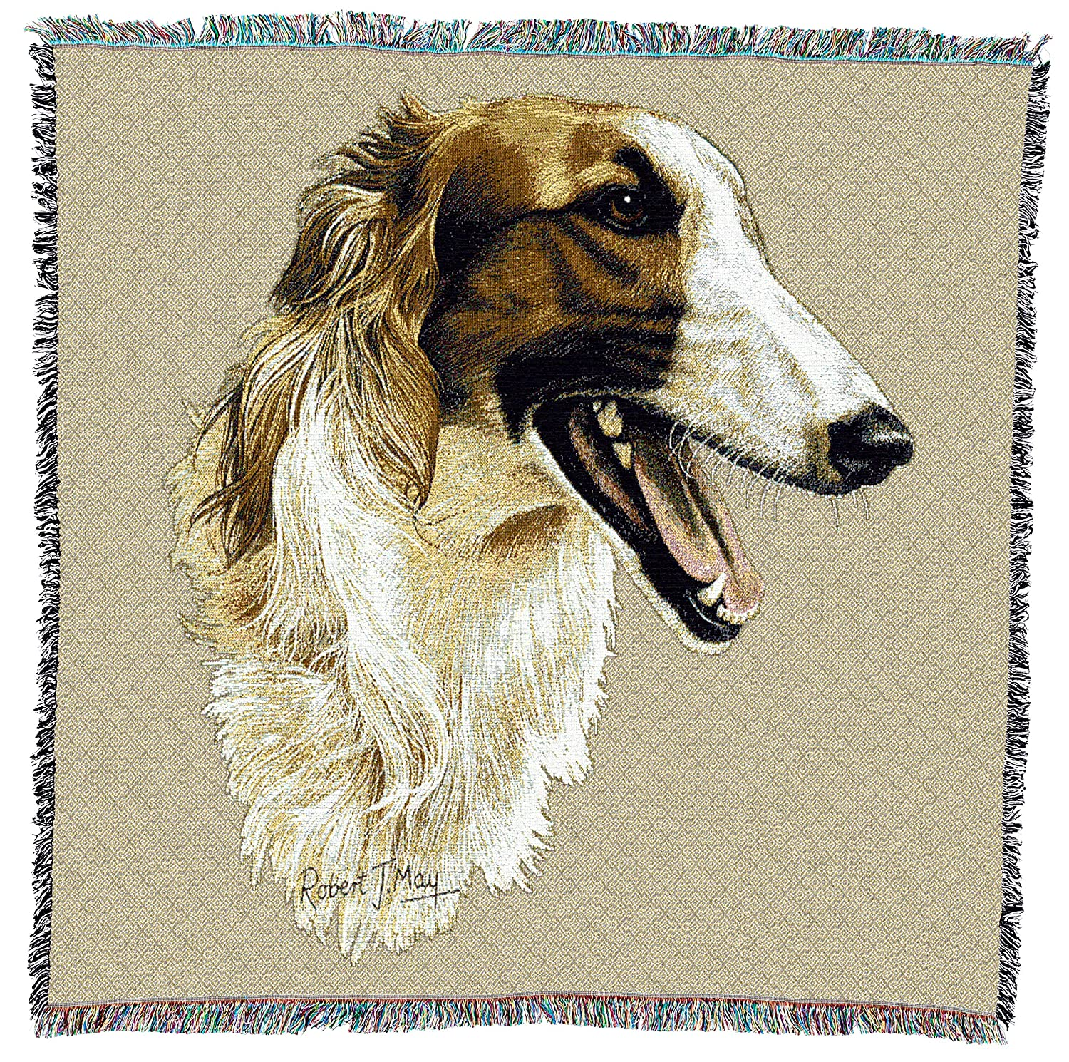 Pure Country Weavers USA Size 54x54 Borzoi Woven Throw Blanket with Fringe Cotton