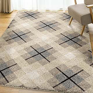product image for Orian Rugs Super Shag Collection 392579 Criss Cross Plaid Area Rug, 9' x 13', Ivory