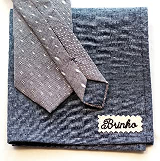 product image for Gray Chambray Neck tie and Pocket Square Set