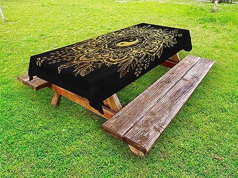 Amazon.com: Lunarable Mandala Outdoor Tablecloth, Ethnic Garden ...