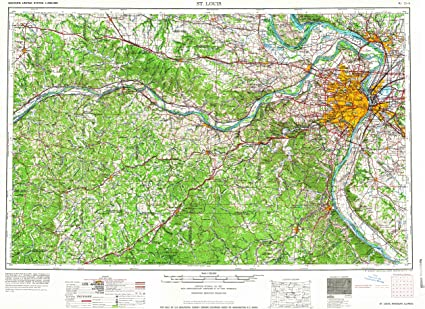 st louis elevation map Amazon Com Yellowmaps St Louis Mo Topo Map 1 250000 Scale 1 X