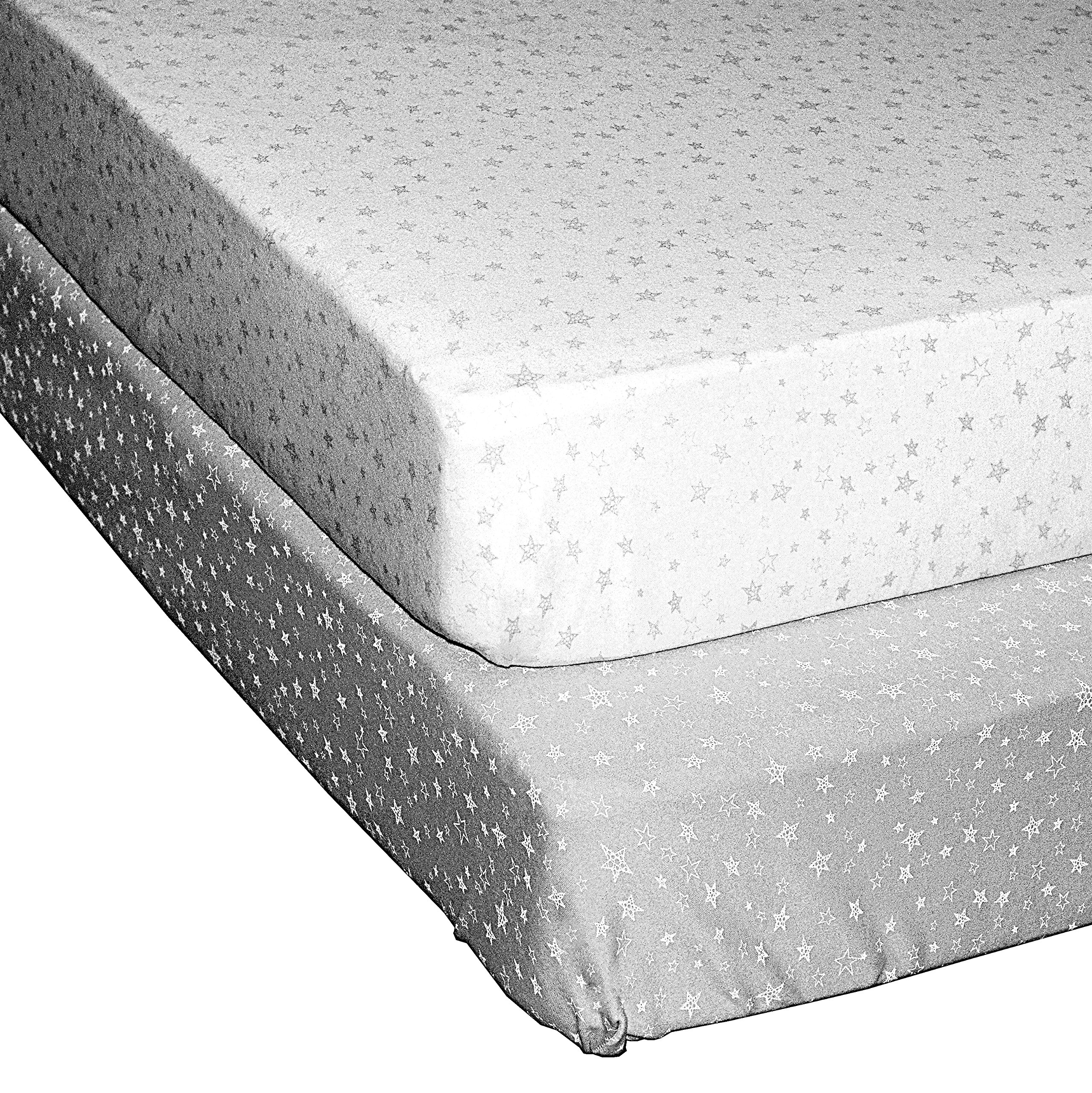 100% Organic Jersey Cotton Fitted Crib Sheets, 100% GOTS Certified, 2 Pack, White/Grey Star, Unisex Design, by Cobei Homegoods by Cobei Homegoods