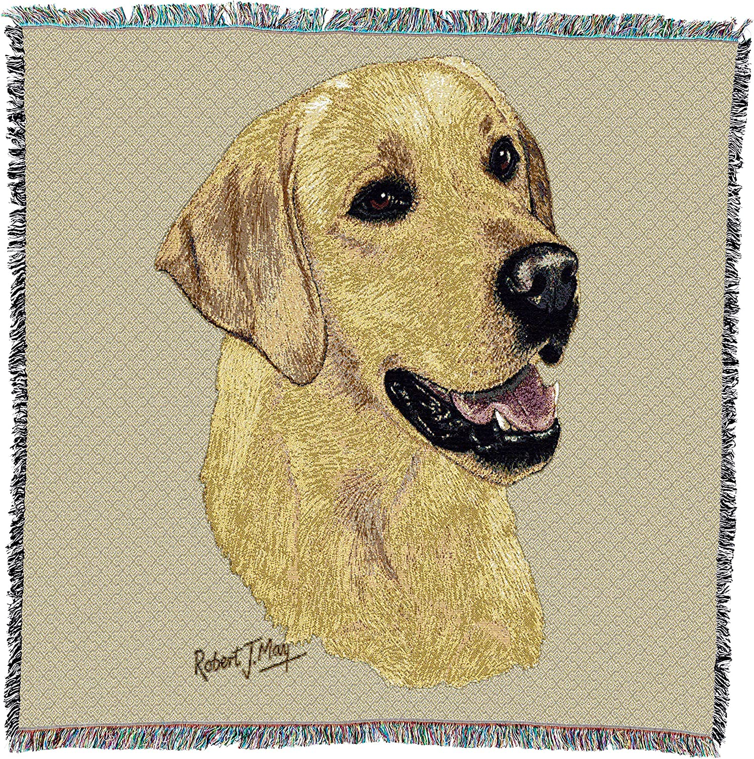 Love Yellow Labrador Retriever Lab dog Cotton Jacquard Woven Throw Blanket NEW
