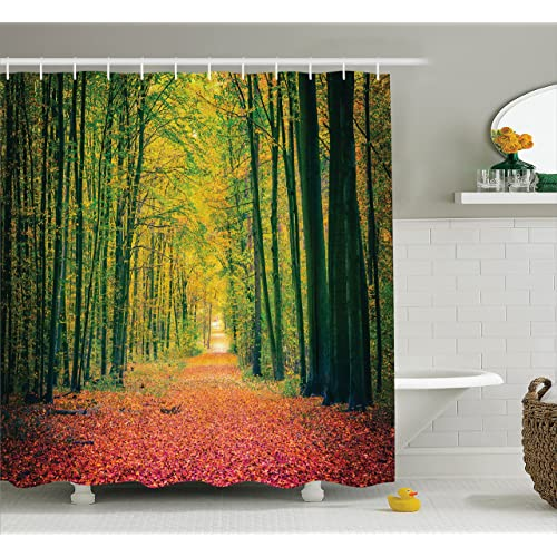 Ambesonne Farm House Decor Shower Curtain Set Pathway In The Autumn Dramatic Road To Infinity
