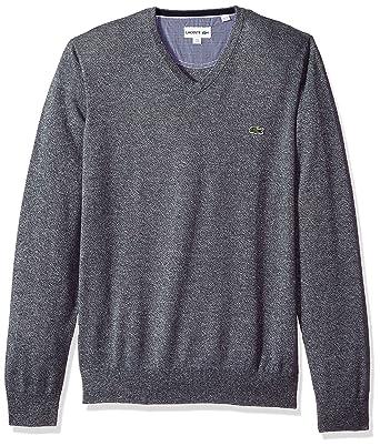 96ce62428c Lacoste Men s V Neck Cotton Jersey Sweater at Amazon Men s Clothing store