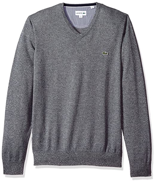 0b4c333cfe6 Lacoste Men's V Neck Cotton Jersey Sweater