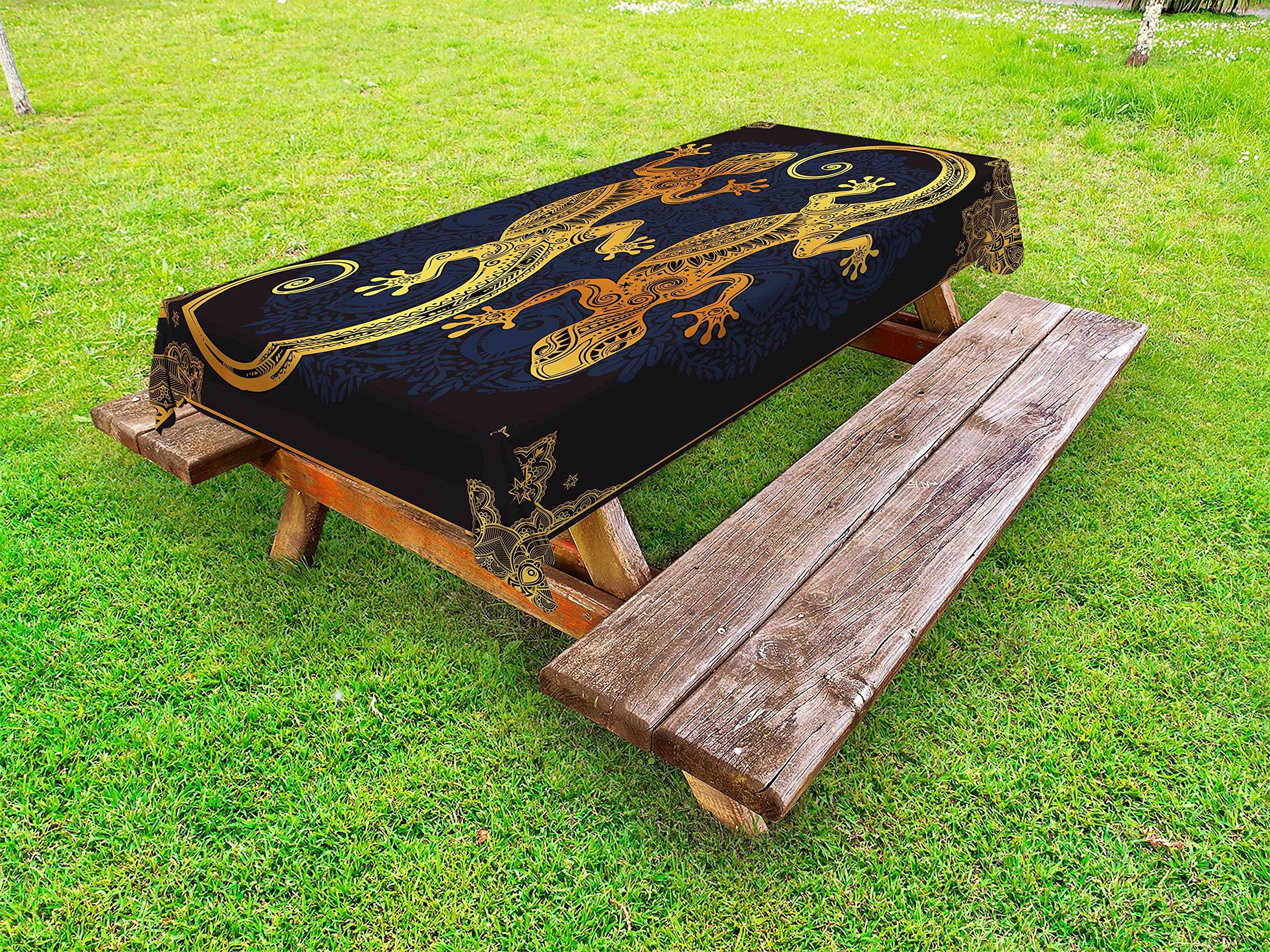 Lunarable Mandala Outdoor Tablecloth, Artistic Gecko Lizards Boho Framework Tropical Henna Tattoo Style, Decorative Washable Picnic Table Cloth, 58 X 120 inches, Dark Orange Yellow Dark Blue