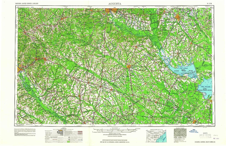 Amazon.com : YellowMaps Augusta GA topo map, 1:250000 Scale, 1 X 2 ...