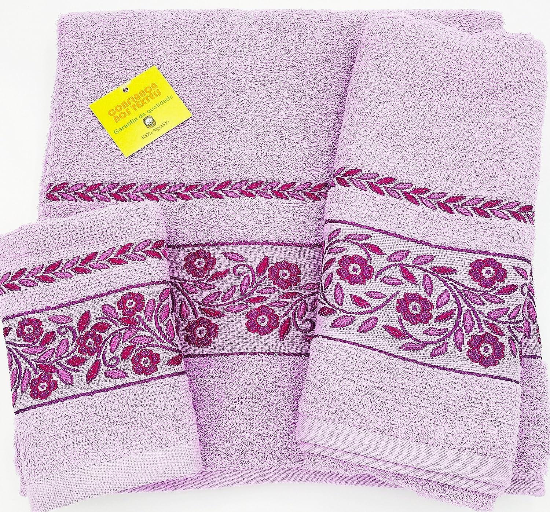 Confort Home M.T (Rosa) Juego de Toallas de baño 3 Piezas REGALITOSTV (1 Toalla de baño, 1 Toallas de Manos y 1 Toalla Cara) 100% algodón,, Toallas Ligeras ...