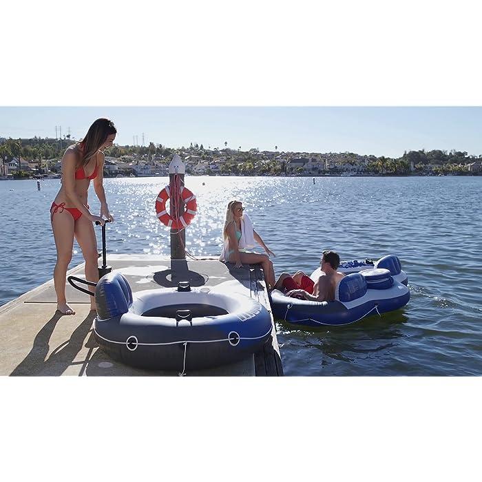 B1HV62MFvmS Sillón hinchable Intex de la línea River Run 1, ideal para descansar en el agua, con un diámetro de 135 cm Rueda hinchable con respaldo para piscinas y/o la playa Cuenta con: fondo del sillón de rejilla, 2 cámaras de aire, 2 portabotellas, 2 asas de sujeción, cuerda de agarre/transporte y conectores