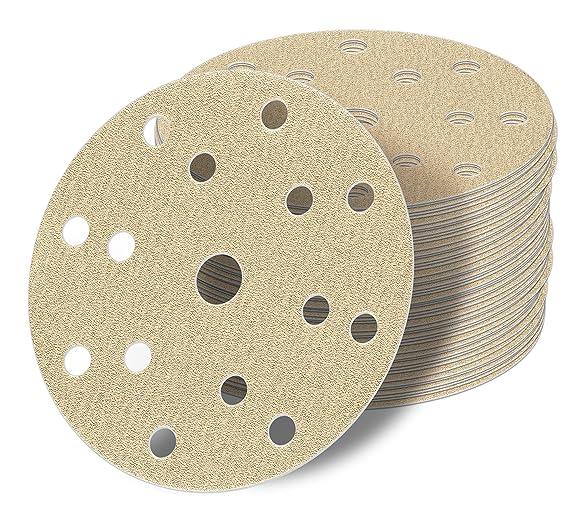 50 St/ück 150 mm Exzenter Schleifscheiben P150 K/örnung Haft Klett Schleifpapier 15 Loch green Film