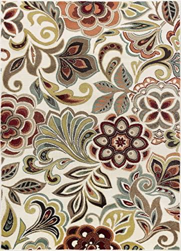 Dilek Transitional Floral Ivory Rectangle Area Rug, 8 x 10