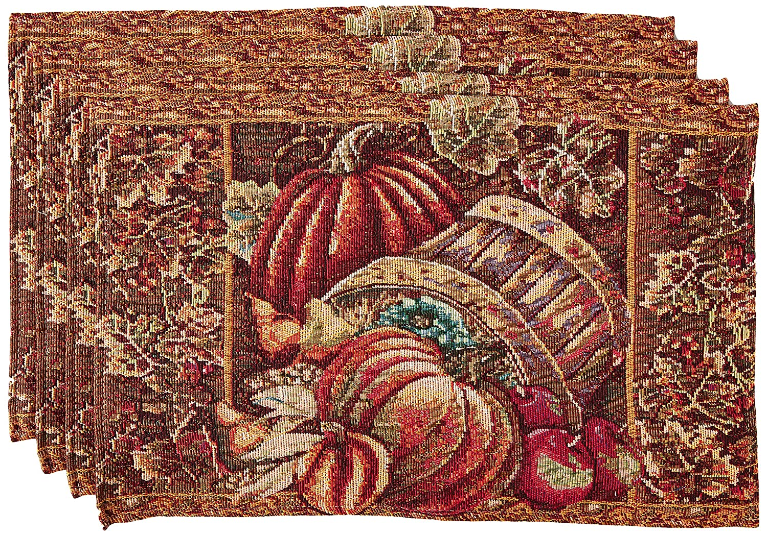 "HomeCrate Fall Harvest Collection, Tapestry Bushel Basket Pumpkins Apples and Grapes Design Set of 4 Placemats, 13"" x 19"""
