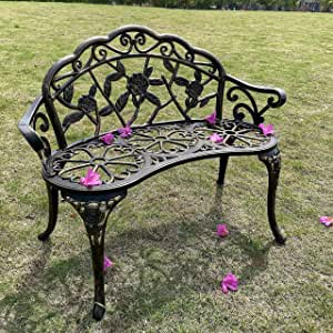 Outdoor Bench Park Garden Bench, All Chair Anti Rust Cast Aluminum Patio Yard Bench Carved Rose Loveseat Bench for Backyard, Porch, Balcony, Lawn (Copper)