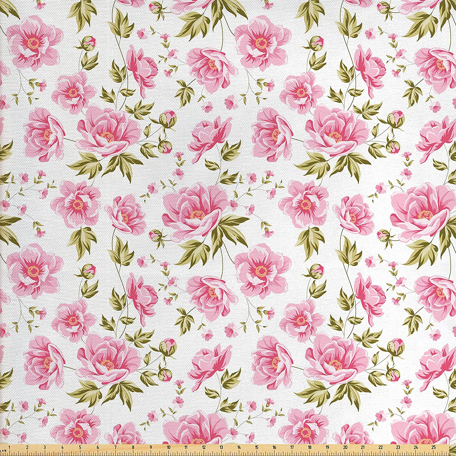 Amazon Com Ambesonne Shabby Chic Fabric By The Yard Floral Peonies