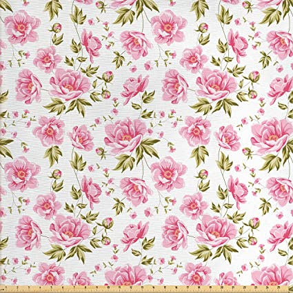 Amazoncom Ambesonne Shabby Chic Fabric By The Yard Floral Peonies