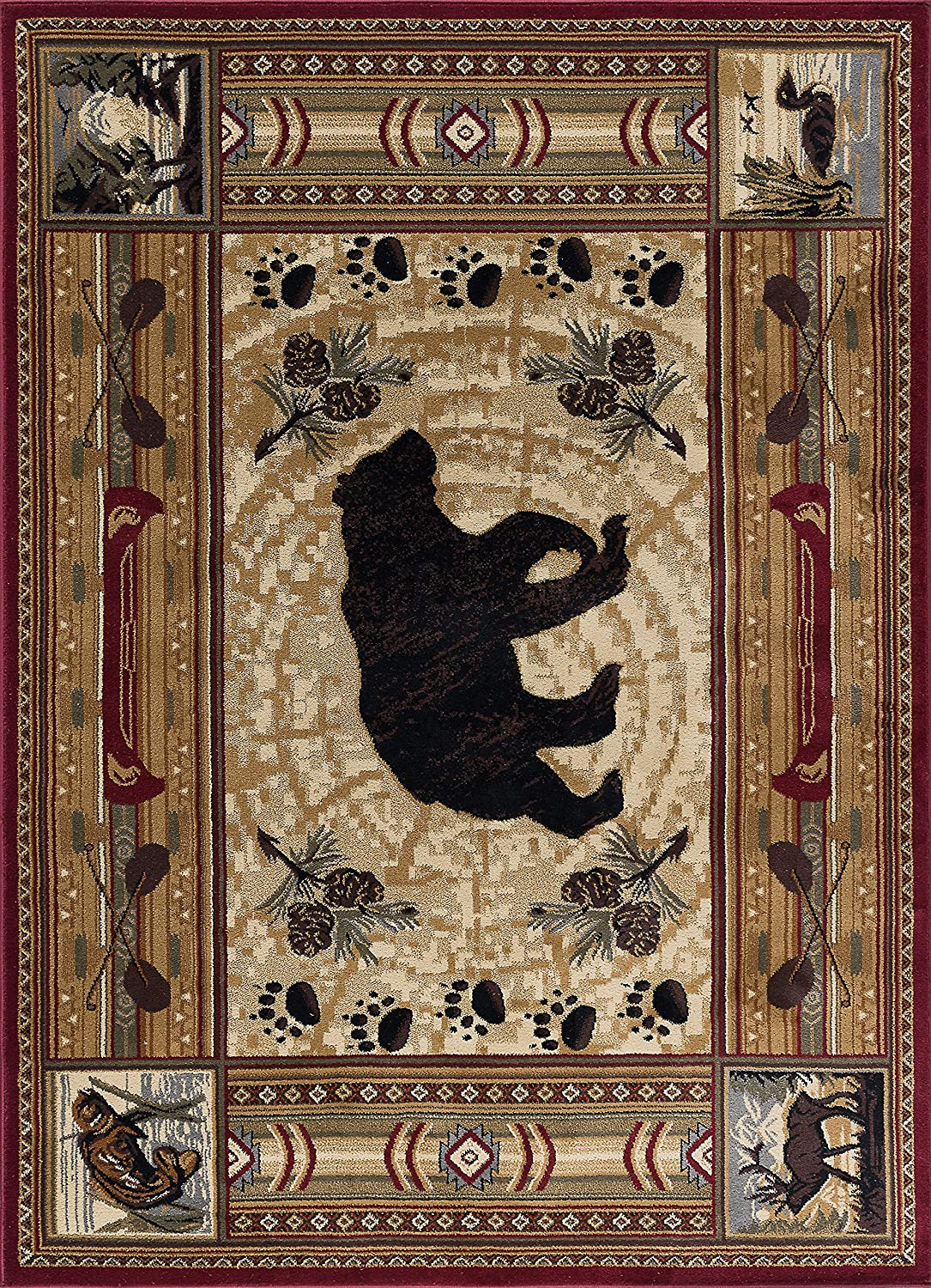 Bear with Pine Cone Accents Rug from Amazon!