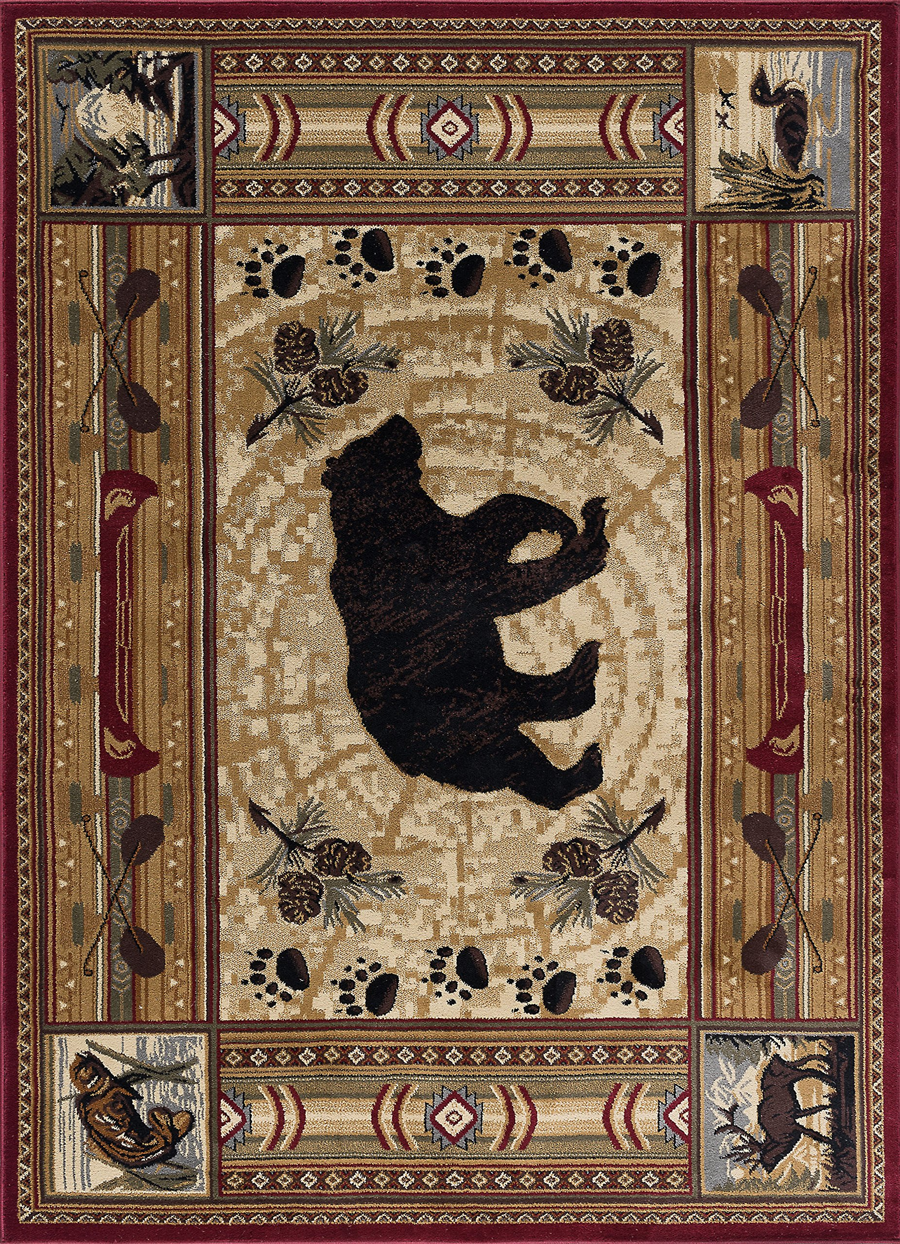 Black Bear Novelty Lodge Pattern Brown Rectangle Area Rug, 8' x 10' by Universal Rugs