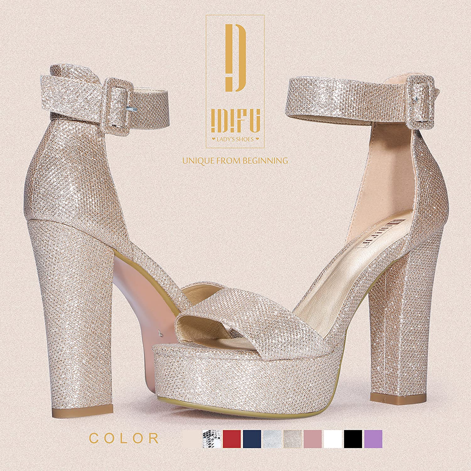 IDIFU Womens IN5 Sabrina Ankle Strap Platform High Chunky Heels Party Sandal