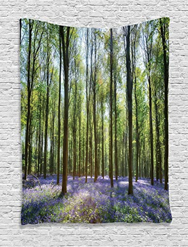 Ambesonne Woodland Tapestry, Bluebells in Wepham Woods Landscape Flowers Rural Countryside Woodland, Wall Hanging for Bedroom Living Room Dorm Decor, 40 X 60 , Green Lavender
