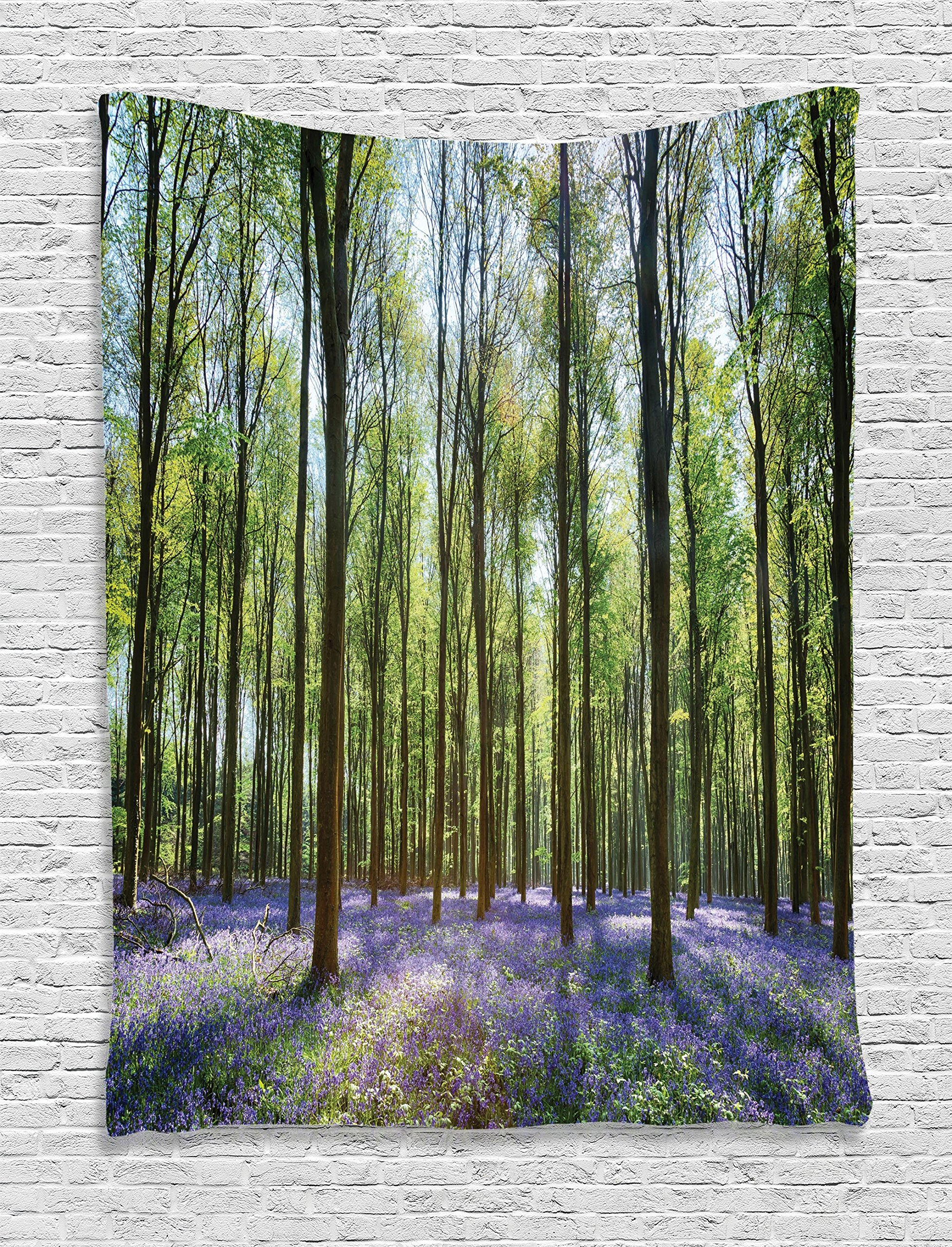 Ambesonne Woodland Decor Tapestry Wall Hanging, Bluebells in Wepham Woods Landscape Flowers Rural Countryside Woodland, Bedroom Living Room Dorm Decor, 60 W x 80 L inches
