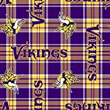 NFL Vikings Plaid Fleece Fabric - Sold By the Yard