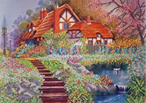 Bead Embroidery kit Spring Cottage Beaded Cross Stitch Sweet Home Needlepoint Handcraft Tapestry kit