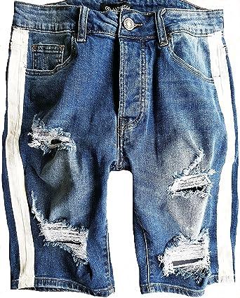 Modern und elegant in der Mode beste Seite Straßenpreis Herren Jeans Short Kurze Hose Destroyed shorts Neu Blau ...