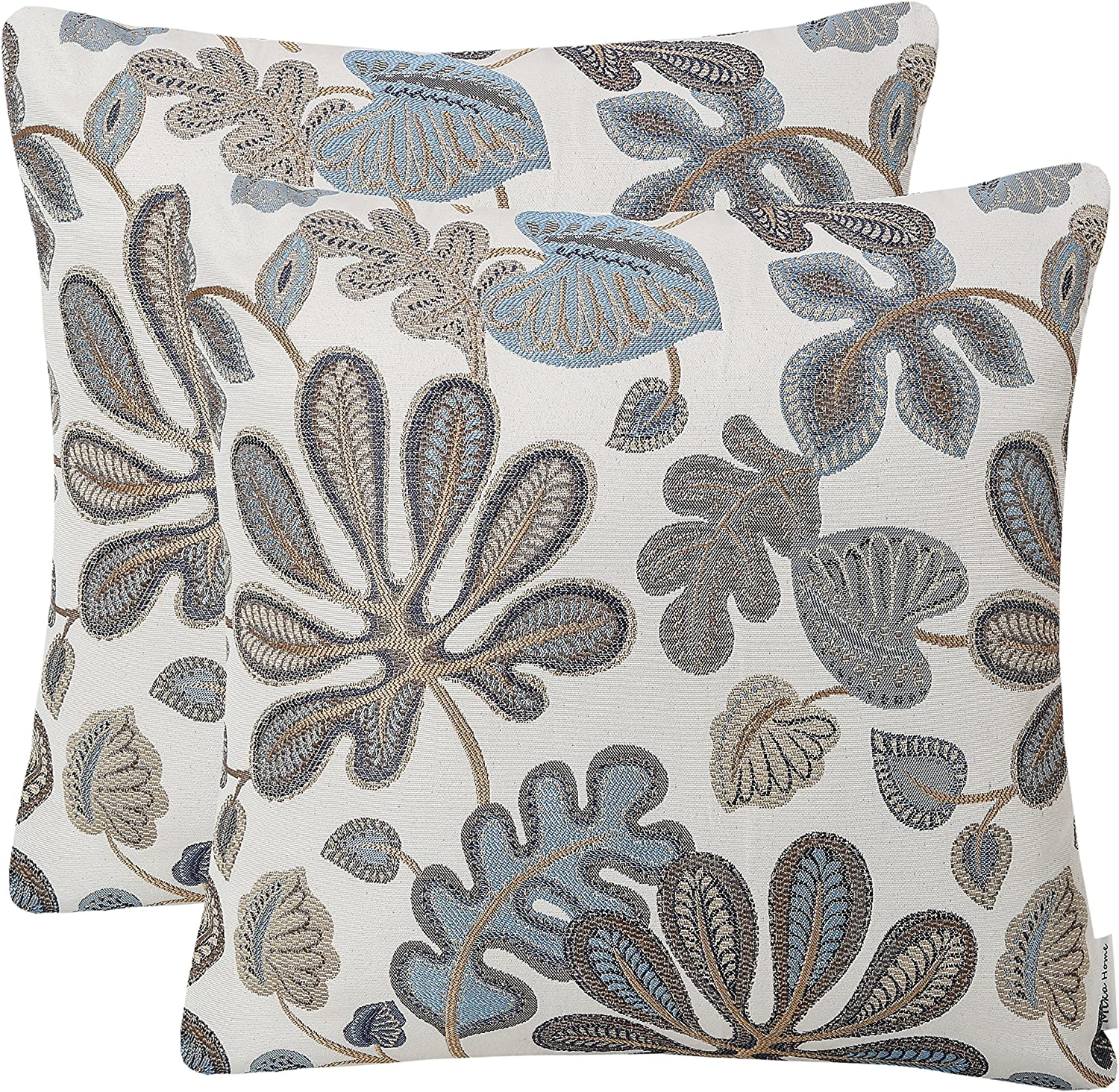 Mika Home Set Of 2 Jacquard Tropical Leaf Pattern Throw Pillow Covers Decorative Pillowcase 20x20 Inches Blue Cream Home Kitchen