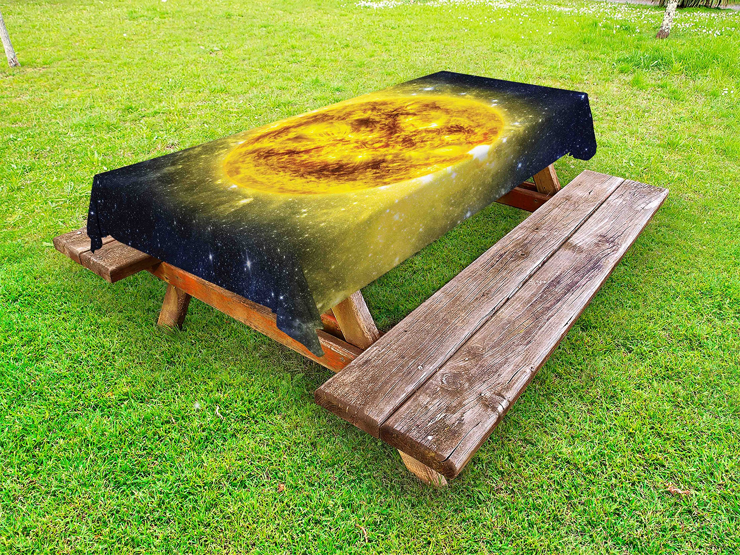 Ambesonne Galaxy Outdoor Tablecloth, Panorama of Sun in Space with Luminous Effects Dynamic Center of Solar System Print, Decorative Washable Picnic Table Cloth, 58 X 84 inches, Yellow Blue