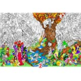 """Beneath the Trees - Giant Wall Size Coloring Poster - 32.5"""" X 22"""" (Great for Adults, Kids, Classrooms, Care Facilities and Families - Includes Reusable Rigid Tube)"""