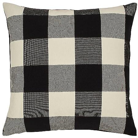 Stone Beam Farmhouse Buffalo Check Plaid Decorative Throw Pillow, 20 x 20 , Black