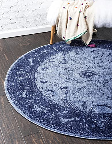 Unique Loom La Jolla Collection Tone-on-Tone Traditional Blue Round Rug 8 0 x 8 0