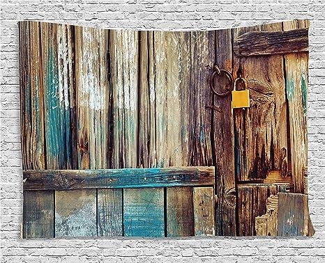 Rústico tapiz decoración por Ambesonne, años cobertizo puerta telón de fondo con detalles de color