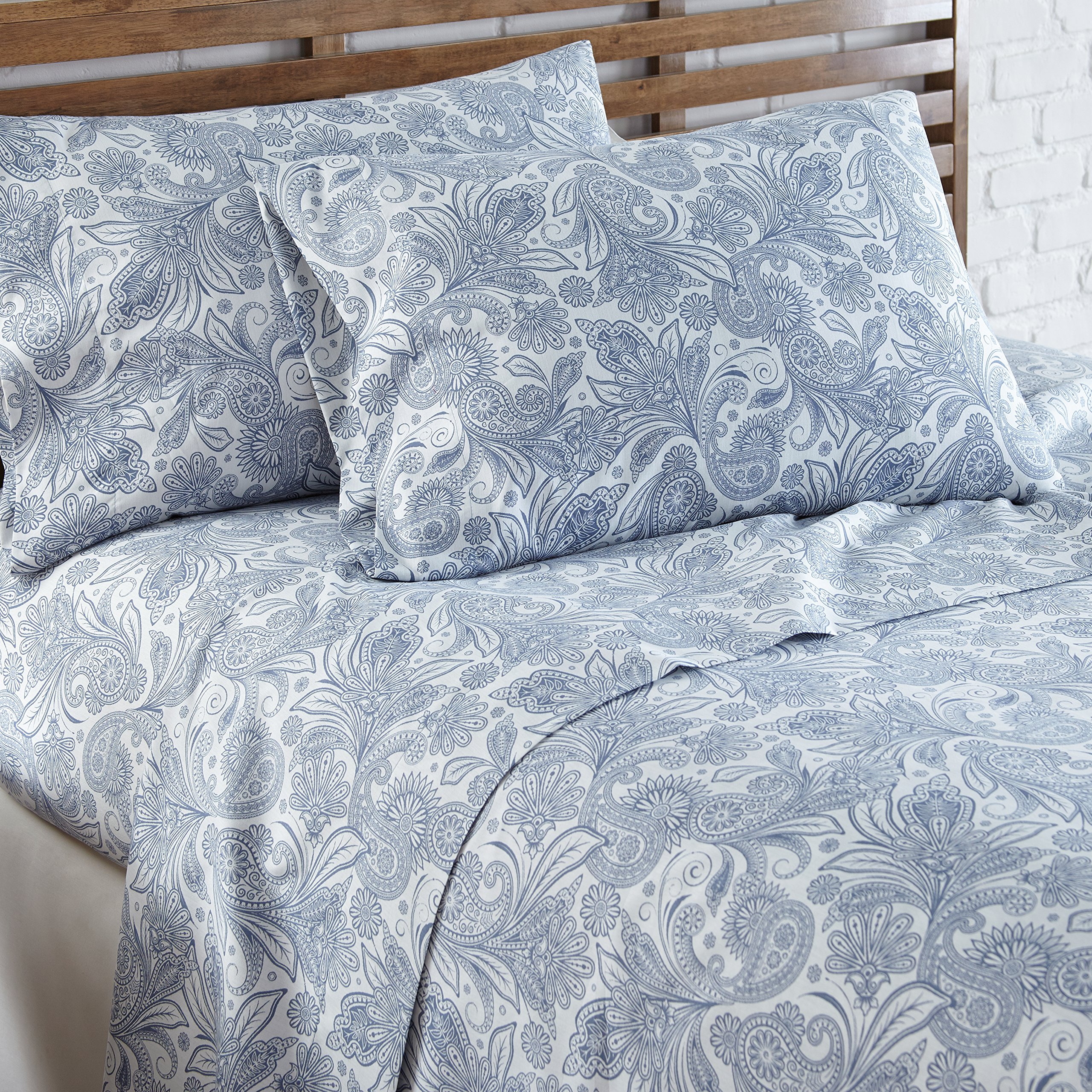 Southshore Fine Linens - Perfect Paisley Boho Collection 4 Piece Sheet Sets, Full, White with Blue Paisley by Southshore Fine Living, Inc. (Image #3)