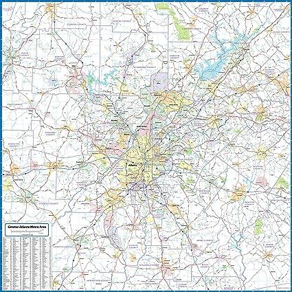 Amazon Com Atlanta Metro Area Laminated Wall Map Office Products