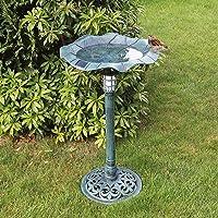 MP Essentials - Cuenco de jardín para exteriores con soporte para bañera de pájaros con luz solar