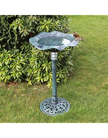 Garden & Patio Vintage Used Repainted Black Cast Iron Metal Birdbath Bowl Garden Décor Old Colours Are Striking