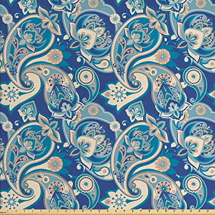 Amazon Com Ambesonne Paisley Fabric By The Yard Authentic Asian