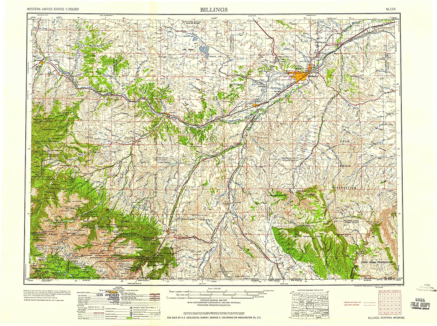 Amazon.com : YellowMaps Billings MT topo map, 1:250000 Scale, 1 X 2 ...